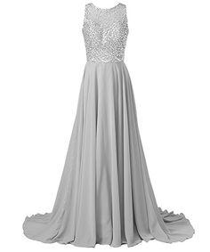 Amazon.com: Callmelady Chiffon Long Prom Dresses 2017 with High Neck & Beaded Mesh Bodice (Silver, US2): Clothing