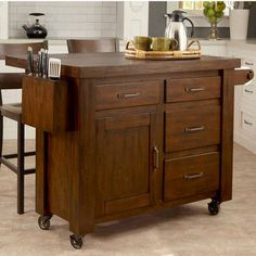 Cabin Creek Kitchen Cart with Breakfast Bar in a Chestnut Finish by Home Styles | KitchenSource.com