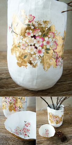 papermache bowls - the text behind the link is in french but I am guessing there's instructions on how to make these...