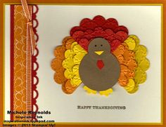 Handmade Thanksgiving card featuring Stampin' Up! Teeny Tiny Wishes Set and punch art turkey.