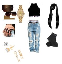 """AALIYAH Theme"" by saucinliya on Polyvore featuring Tommy Hilfiger, Forever 21, Timberland, Rolex and Gucci"
