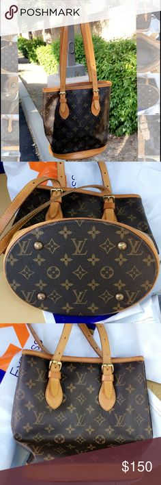 "💯AUTH VINTAGE LOUIS VUITTON MONOGRAM BUCKET PM 💯 AUTHENTIC VINTAGE LOUIS VUITTON MONOGRAM BUCKET PM HANDBAG SERIAL NUMBER: SD0987 Size: W9.0"" H9.8"" D6.2"" OUTSIDE: Great condition with light scratches, still honey color INSIDE : VERY CLEAN and not that sticky, but, it is peeling (see pics).  I'd put a Lululemon or bucket shaped shopping bag inside to protect it from further damage.   This is 3 of 3 LV Bucket PM bags from my collection.   See my other items by Gucci, Jimmy Choo, Tory Burch…"