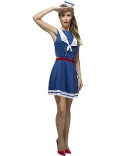 Ladies Fancy Dress Up Party Sexy Fever Hey Sailor Costume Outfit - to coupon coupon Sailor Costumes, Blue Costumes, Ladies Fancy Dress, Fancy Dress Up, Career Costumes, Union Jack Dress, Halloween Costume Accessories, Halloween Costumes, Women Halloween