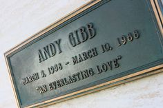 Grave Marker- Andy Gibb of the Bee Gees