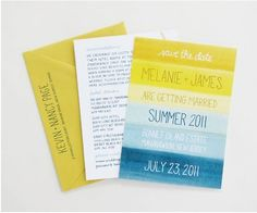 beach watercolor invites #wedding #invitation #watercolor: