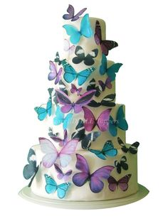 Birthday Cake Topper THE EMMA Edible Butterfly set  -  Cake Decorations, Edible Decorations for Cupcakes