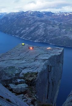 Cliff camping on Preachers rock, Norway. Preikestolen cliff, Norway