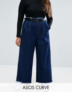 £35 ASOS CURVE Belted Wide Leg Jeans With Raw Hem