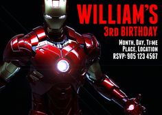 Iron Man Avengers Ironman Birthday Party Invitation Card Decor