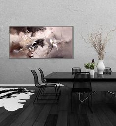 "Black White Modern Wall Art Painting Acrylic Painting Canvas Art Original Abstract Art Modern Interior Decor Painting 24x48""/60x120cm"