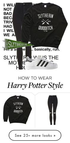 """Slytherin"" by mshemmo on Polyvore featuring Topshop and adidas"