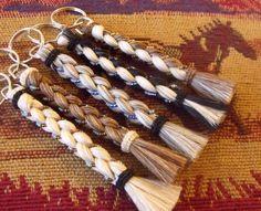 horse hair key chain trimmed glass beads Euestrian gift