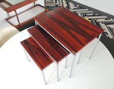 Martin Visser rosewood chrome Danish nesting tables by plastolux