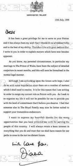 Princess Diana Note  Famous Autographs    Princess