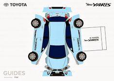 One sheet-Cut-Fold and Glue-Toyota Yaris-paper craft Paper Model Car, Paper Car, Paper Models, Paper Toys, Audi, Porsche, Rolls Royce, Aston Martin, Bugatti