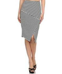 Look what I found on #zulily! Ivory & Black Stripe Asymmetrical Skirt #zulilyfinds