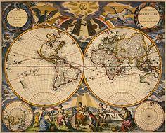 Map Quest ⇛ Maps U0026 Globes In History, Art, Craft U0026 Decor   Antique World Map