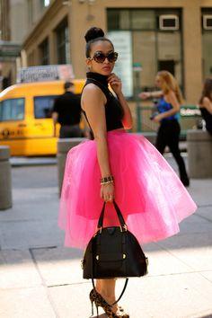hot pink tulle skirt!
