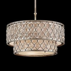 This could work upstairs, more expensive but we seem to saving in other areas : ) Feiss Lucia 24 W Burnished Silver Pendant Light Hallway Light Fixtures, Hanging Light Fixtures, Crystal Pendant Lighting, Modern Pendant Light, Room Lights, Ceiling Lights, Modern Lighting Design, Chandelier Lighting, Chandeliers