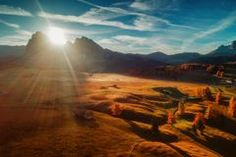 Aerial autumn sunrise scenery with yellow larches and small alpi Stock Photos