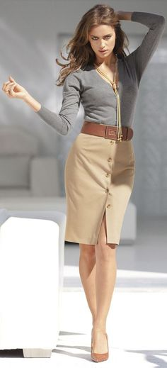 Tan Skirt Button Detail Grey Sweater Business Casual