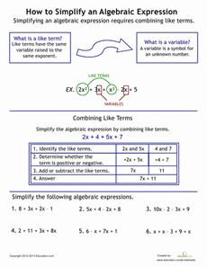 ... to Simplify Algebraic Expressions Worksheet - whole site of worksheets