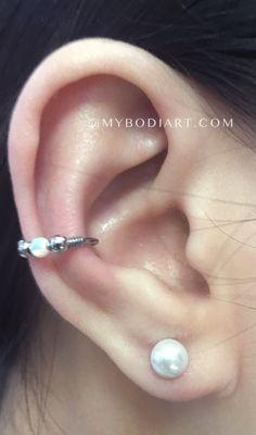 Feminine Classy Ear Piercing Ideas - Opal Conch Earring Ring Hoop - Pearl Ear Lobe Studs - www.MyBodiArt.com