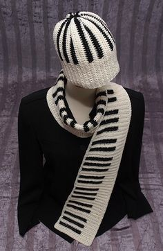 PIANO SCARF And HAT Set Reversible Crocheted Handmade With Fine Merino Wool Silk Nylon Blend Yarn Ooak. $79.00, via Etsy.