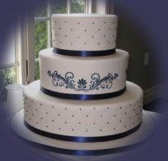 Torta nuziale blu e bianca
