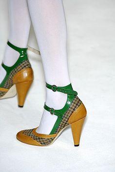 Tweed ankle strap heels by Eley Kishimoto.