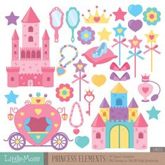 Princess Elements Digital Clipart Castle Clipart by LittleMoss