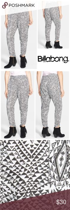 🆕Billabong 'Turn it Loose' Print Beach Pants Enjoy some stylish relaxation in soft, easygoing beach pants patterned in a cute print and topped with a gathered elastic waist. Pull-on style. * 100% rayon. Billabong Pants