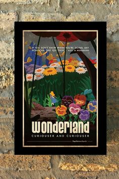 ALICE IN WONDERLAND Disney Princess Travel Poster Vintage Print Wall Art House Warming New Apartment