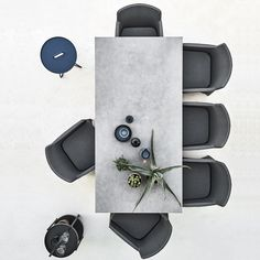 Pure Table: The minimalistic dining table. The dining table's top is made of lightweight fiber concrete placed on a frame of stainless steel or aluminum. Furniture Layout, Furniture Plans, Furniture Design, Gothic Furniture, Furniture Removal, Studio Floor Plans, Table Top View, Willow House, Autocad