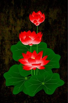 Red Lotus by myrbpix. Cool idea with multiple blooms vertically Pichwai Paintings, Indian Art Paintings, Lotus Painting, Buddha Painting, Lotus Flower Pictures, Lotus Flower Wallpaper, Kerala Mural Painting, Lotus Art, Madhubani Art