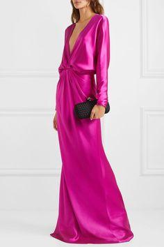 Monique Lhuillier - Wrap-effect draped silk-satin gown Monique Lhuillier, Satin Gown, Silk Satin, Silk Dress, Silk Skirt, Stuart Weitzman Sandals, Quinceanera Dresses, Types Of Sleeves, Fashion Dresses