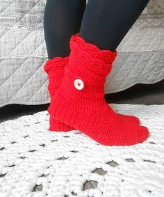 anas / Háčkované papuče v červenej Fingerless Gloves, Arm Warmers, Socks, Fashion, Fingerless Mitts, Moda, Fashion Styles, Sock, Fingerless Mittens