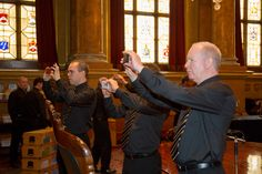 Royal Mint staff recording the occasion at Goldsmiths' Hall, City of London - Trial of the Pyx 2014