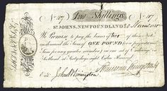 Lot 134 Saint John's, Newfoundland, 10 /- Shillings, 1815 Denominated Banknote.  Newfoundland, 10 Shillings, P-Unlisted, Issued and uncancelled, S/N 107, Counterfoil on left with allegorical woman, Fine to Fine+ condition, Early CaSaint John's, Newfoundland, 10 /- Shillings, 1815 Denominated Banknote. - Archives International Auctions Archives International Auctions - Auction XXXlll - March 10, 2015 Live and Absentee Bidding Available Virtual Catalog :  http://www.archivesinternational.com