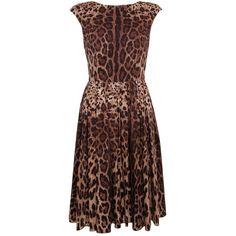 Dolce & Gabbana Leopard Print Cotton Dress ($1,320) ❤ liked on Polyvore