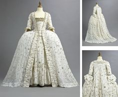 Court Gown: ca. 1770's, Indian muslin with metal embroidery, robe à la française with train and scalloped cuffs to the sleeves, matching ruched robings, edged in metallic thread chain, matching petticoat, stomacher trimmed with wide metallic tape.