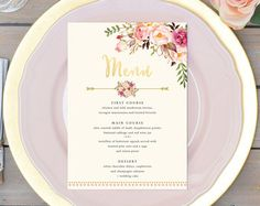 Floral Wedding Menu Printable Boho Chic Wedding Menu Bohemian Wedding Menu Gold Foil Typography Spring / Summer Wedding Rustic Menu - #112