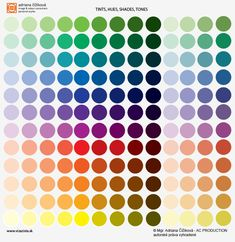 Illustrative picture - chroma simple: tints, hues, shades and tones. Tints (hue + white), hues (pure saturated colours), shades (hue + black), tones (hue + white+black=grey), This is illustrative simplification of 12 hues and their tints, tones, shades. From left to right in each line - 4 circles are tints, then one is hue, 4 circles shades and 4 circles tones. Hue is basic - the colour with no white, no gray, or black in it. Created by Adriana Cizikova.