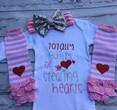 Totally guilty of stealing hearts Red pink and silver Glitter Onesie shirt red sequin headband heart leg warmer set Outfit Baby Girl Clothes by sydneysbowtique on Etsy