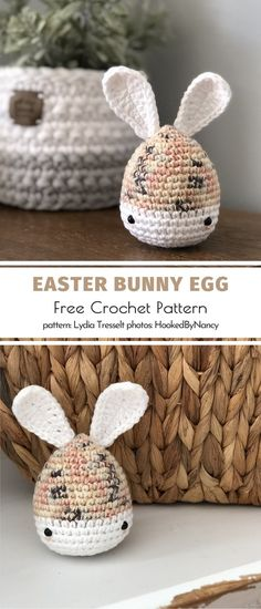 Easter Eggs and Bunnies. If you like modern minimalism, simplicity, and neutral colors, this version of an Easter egg bunny should suit your taste like a dream. The eggs will look awesome in a basket or a big jar on your window sill or porch. Crochet Baby Toys, Crochet Home, Free Crochet, Crocheted Animals, Easter Bunny Eggs, Bunnies, Holiday Crochet Patterns, Crochet Chicken, Easter Crafts
