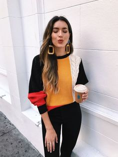 Color blocked sweater with black jeans and gold earrings Visit Daily Dress Me at for more inspiration womens fashion 2018 fall fashion casual outfits school fashion women. Fashion Mode, Look Fashion, Fashion Outfits, Womens Fashion, Fashion Trends, Fall Fashion, School Fashion, Fashion 2018, Street Style Fashion