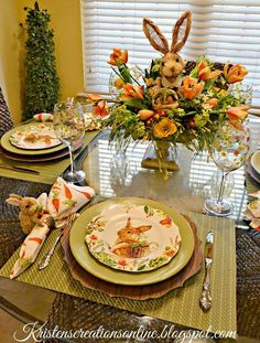 hoppy easter Elegant Easter tablescapes is the only way people are going to remember your Easter party. Check out best Easter Table decorations ideas and inspo here. Brunch Table Setting, Easter Table Settings, Easter Table Decorations, Easter Decor, Easter Ideas, Easter Centerpiece, Diy Ostern, Hoppy Easter, Easter Bunny