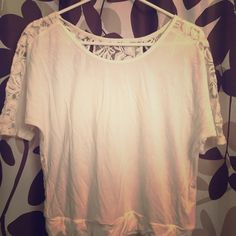 Express White Lace Back Crop Top I love this shirt! Bought too small so worn only once but it's so perfect for summer time! Express Tops Crop Tops