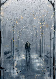 40 Romantic Digital Illustrations by Pascal Campion Art And Illustration, Calin Gif, Pascal Campion, Rain Art, Cute Couple Art, Wow Art, Anime Kawaii, Anime Scenery, Aesthetic Art