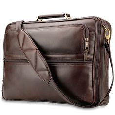 "The well-dressed professional will love the rich cowhide leather finish bag that provides everything he needs at his side with two roomy compartments. The 17"" laptop compartment located in the front of the bag for easy access is well cushioned with secure straps to ensure your laptop stays protected. The roomy second compartment is large enough to hold documents, a tablet and your favourite electronics."